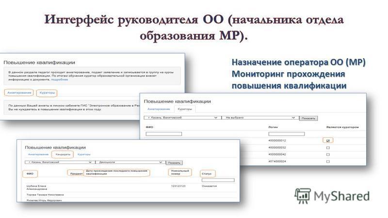 Назначение оператора ОО (МР) Мониторинг прохождения повышения квалификации