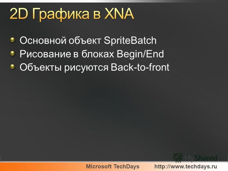 Microsoft TechDayshttp://www.techdays.ru Основной объект SpriteBatch Рисование в блоках Begin/End Объекты рисуются Back-to-front