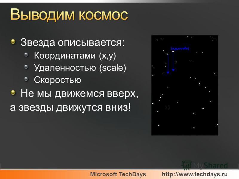 Microsoft TechDayshttp://www.techdays.ru Звезда описывается: Координатами (x,y) Удаленностью (scale) Скоростью Не мы движемся вверх, а звезды движутся вниз!