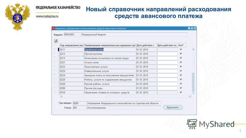 Новый справочник направлений расходования средств авансового платежа 5