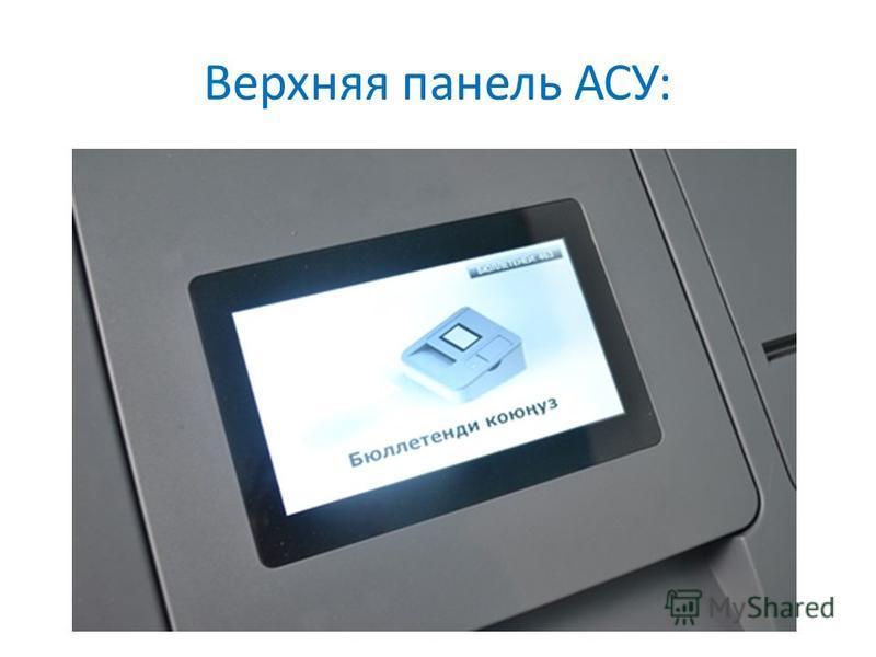 Верхняя панель АСУ:
