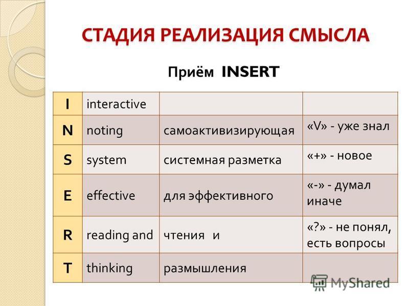 СТАДИЯ РЕАЛИЗАЦИЯ СМЫСЛА Приём INSERT I interactive N noting само активизирующая «V» - уже знал S system системная разметка «+» - новое Е effective для эффективного «-» - думал иначе R reading and чтения и «?» - не понял, есть вопросы Т thinking разм