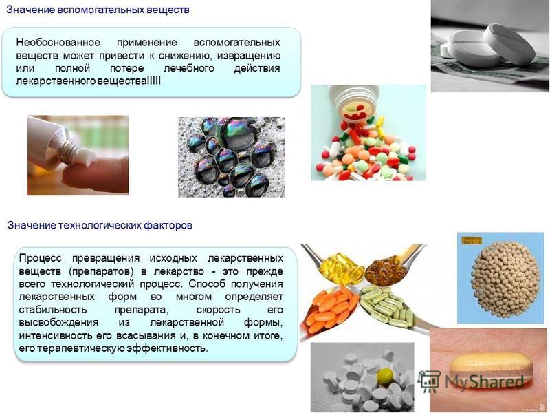 Значение вспомогательных веществ Необоснованное применение вспомогательных веществ может привести к снижению, извращению или полной потере лечебного действия лекарственного вещества!!!!! Значение технологических факторов Процесс превращения исходных