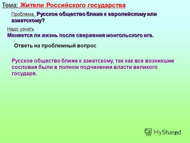 21 Тема: Жители Российского государства Проблема. Русское общество ближе к европейскому или азиатскому? Надо узнать Меняется ли жизнь после свержения монгольского ига. Ответь на проблемный вопрос Русское общество ближе к азиатскому, так как все возни