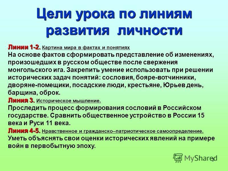 3 Цели урока по линиям развития личности Линии 1-2. Линии 1-2. Картина мира в фактах и понятиях На основе фактов сформировать представление об изменениях, произошедших в русском обществе после свержения монгольского ига. Закрепить умение использовать
