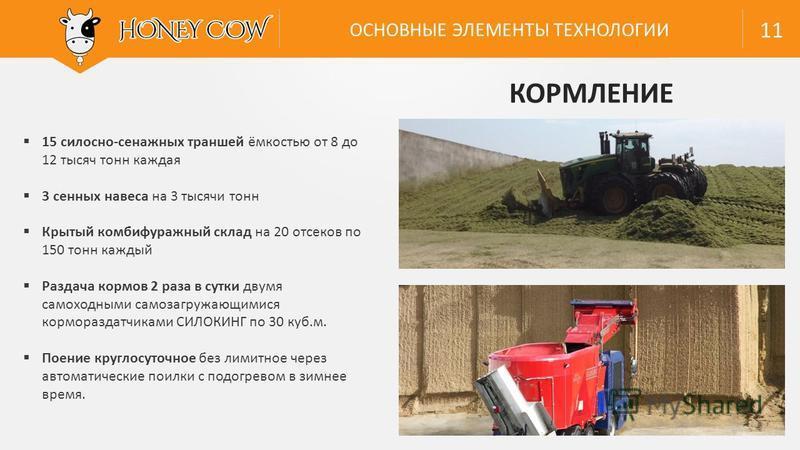 15 силосно-сенажных траншей ёмкостью от 8 до 12 тысяч тонн каждая 3 сенных навеса на 3 тысячи тонн Крытый комби фуражный склад на 20 отсеков по 150 тонн каждый Раздача кормов 2 раза в сутки двумя самоходными самозагружающимися кормораздатчиками СИЛОК
