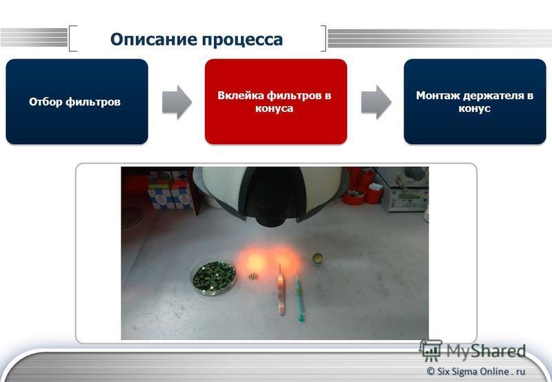 © Six Sigma Online. ru Описание процесса Отбор фильтров Монтаж держателя в конус Вклейка фильтров в конуса