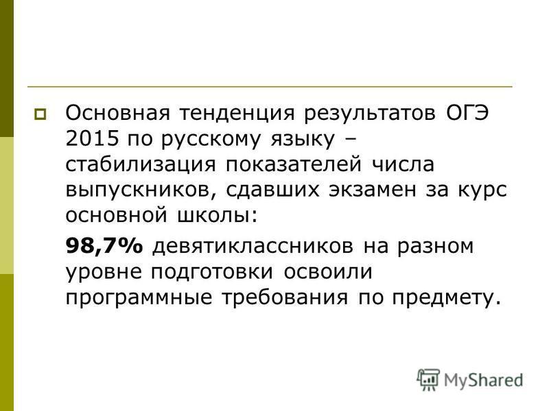 Основная тенденция результатов ОГЭ 2015 по русскому языку – стабилизация показателей числа выпускников, сдавших экзамен за курс основной школы: 98,7% девятиклассников на разном уровне подготовки освоили программные требования по предмету.