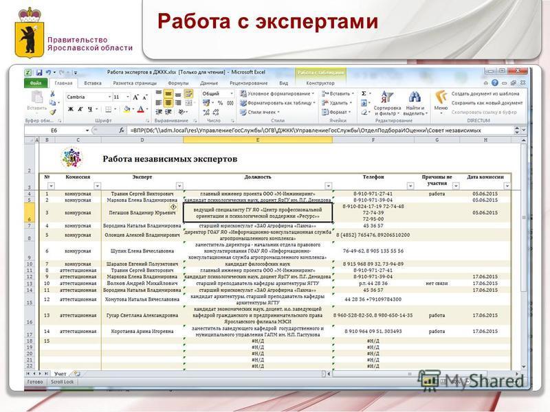 Правительство Ярославской области Работа с экспертами