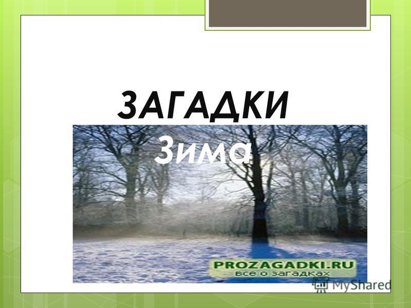 ЗАГАДКИ Зима