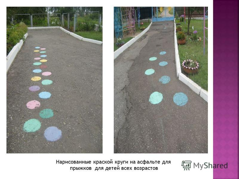 Нарисованные краской круги на асфальте для прыжков для детей всех возрастов