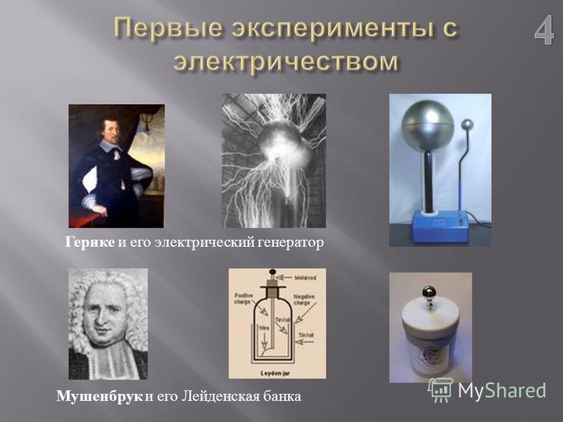 Герике и его электрический генератор Мушенбрук и его Лейденская банка