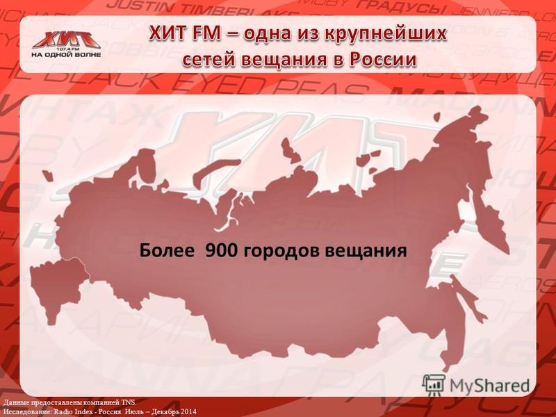 Данные предоставлены компанией TNS. Исследование: Radio Index - Россия. Июль – Декабрь 2014 Более 900 городов вещания