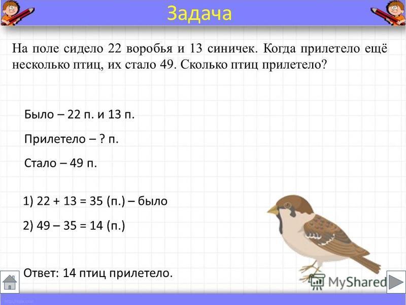 Было – 22 п. и 13 п. Прилетело – ? п. Стало – 49 п. На поле сидело 22 воробья и 13 синичек. Когда прилетело ещё несколько птиц, их стало 49. Сколько птиц прилетело? Ответ: 14 птиц прилетело. Задача 1) 22 + 13 = 35 (п.) – было 2) 49 – 35 = 14 (п.)