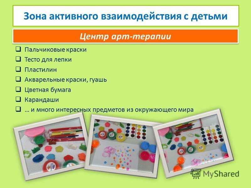 Пальчиковые краски Тесто для лепки Пластилин Акварельные краски, гуашь Цветная бумага Карандаши … и много интересных предметов из окружающего мира Зона активного взаимодействия с детьми Центр арт-терапии