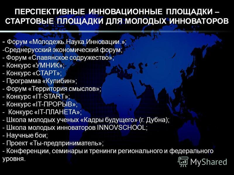 ПЕРСПЕКТИВНЫЕ ИННОВАЦИОННЫЕ ПЛОЩАДКИ – СТАРТОВЫЕ ПЛОЩАДКИ ДЛЯ МОЛОДЫХ ИННОВАТОРОВ - Форум «Молодежь.Наука.Инновации.»; -Среднерусский экономический форум; - Форум «Славянское содружество»; - Конкурс «УМНИК»; - Конкурс «СТАРТ»; - Программа «Кулибин»;