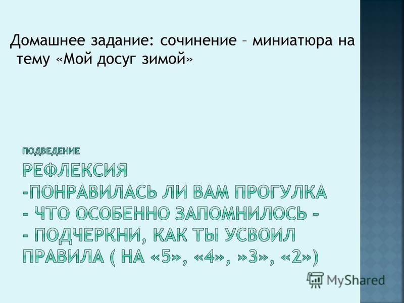 Домашнее задание: сочинение – миниатюра на тему «Мой досуг зимой»