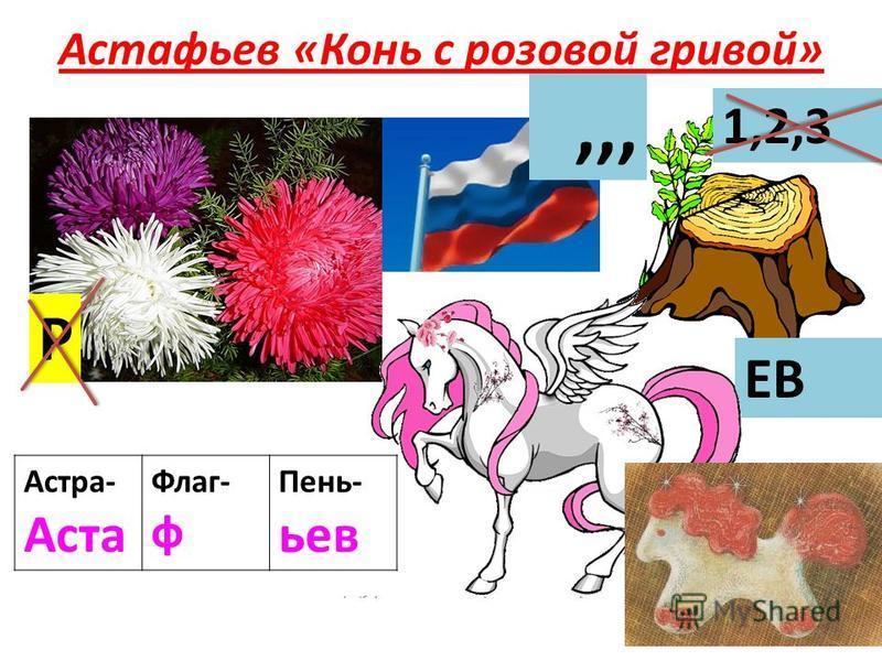 Астафьев «Конь с розовой гривой» Астра- Аста Флаг- ф Пень- ьев Р,,, 1,2,3 ЕВ