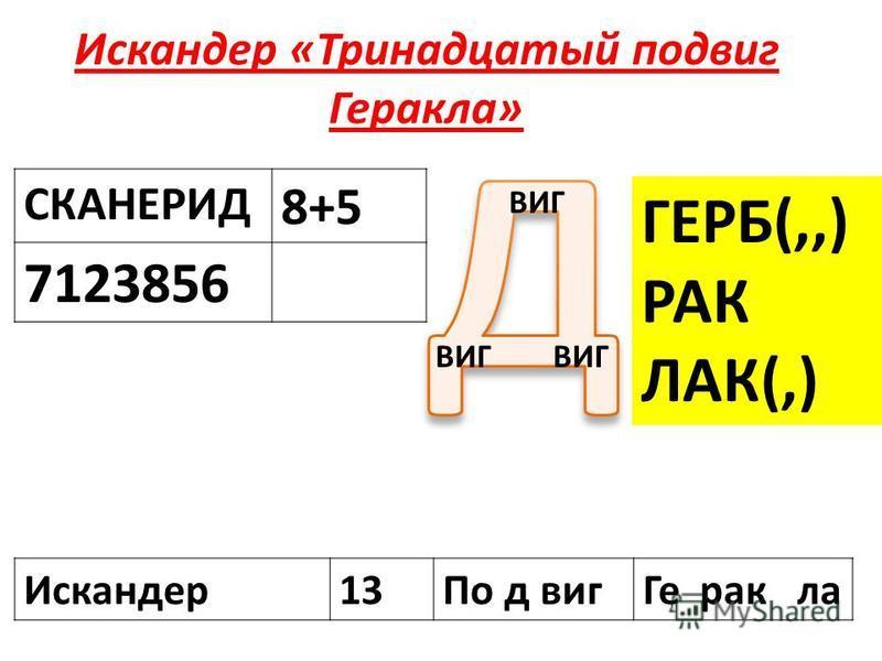 Искандер «Тринадцатый подвиг Геракла» СКАНЕРИД 8+5 7123856 ВИГ ГЕРБ(,,) РАК ЛАК(,) Искандер 13По д виг Ге рак ла