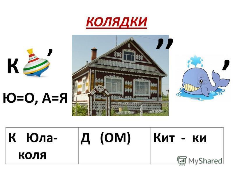 КОЛЯДКИ К Юла- коля Д (ОМ)Кит - ки К, Ю=О, А=Я,,,