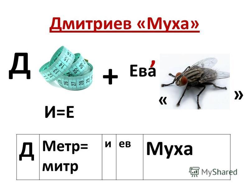 Дмитркиев «Муха» Д Метр= митр киев Муха Д И=Е + Ева, « »