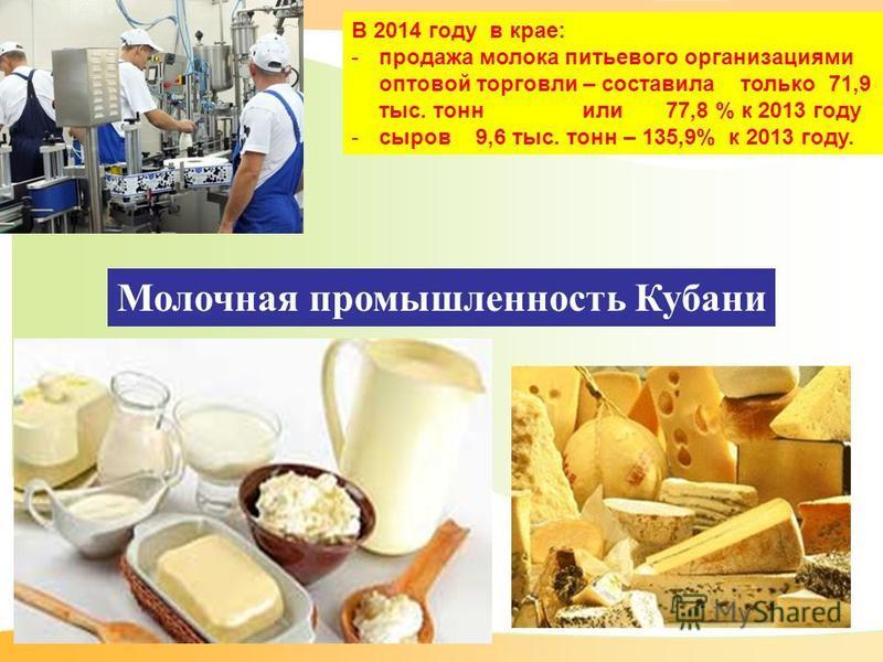 Молочная промышленность Кубани В 2014 году в крае: -продажа молока питьевого организациями оптовой торговли – составила только 71,9 тыс. тонн или 77,8 % к 2013 году -сыров 9,6 тыс. тонн – 135,9% к 2013 году.