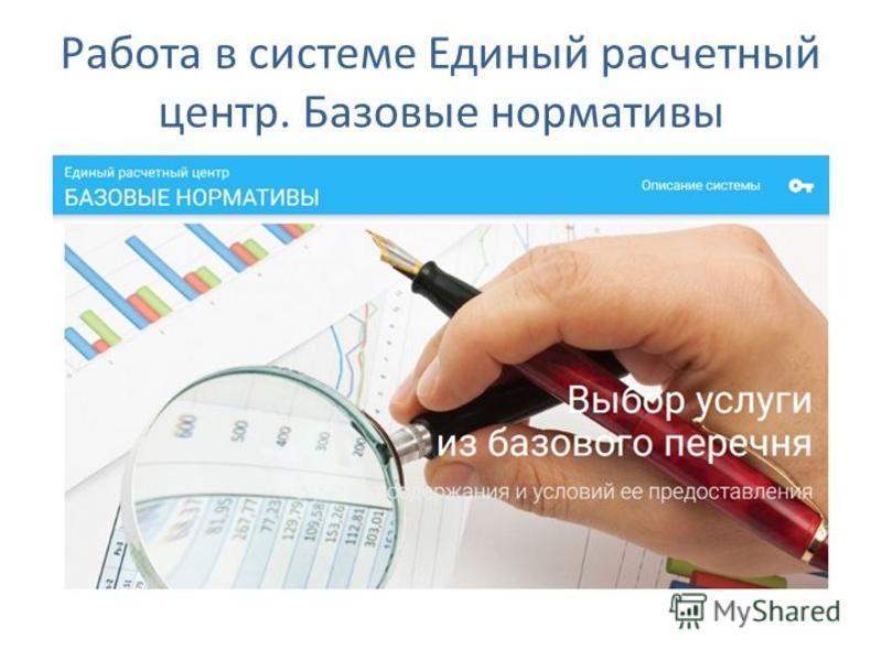 Работа в системе Единый расчетный центр. Базовые нормативы
