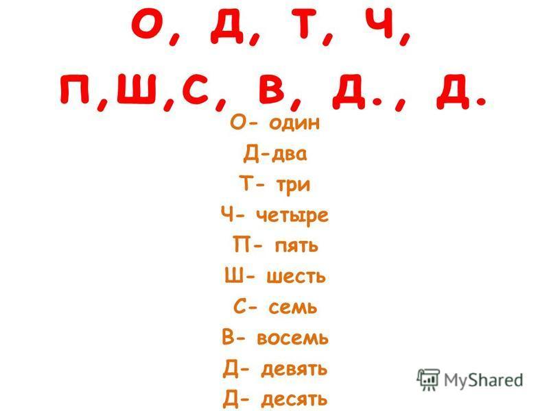 о, д, т, ч, п,ш,с, в, д., д. О- один Д-два Т- три Ч- четыре П- пять Ш- шесть С- семь В- восемь Д- девять Д- десять