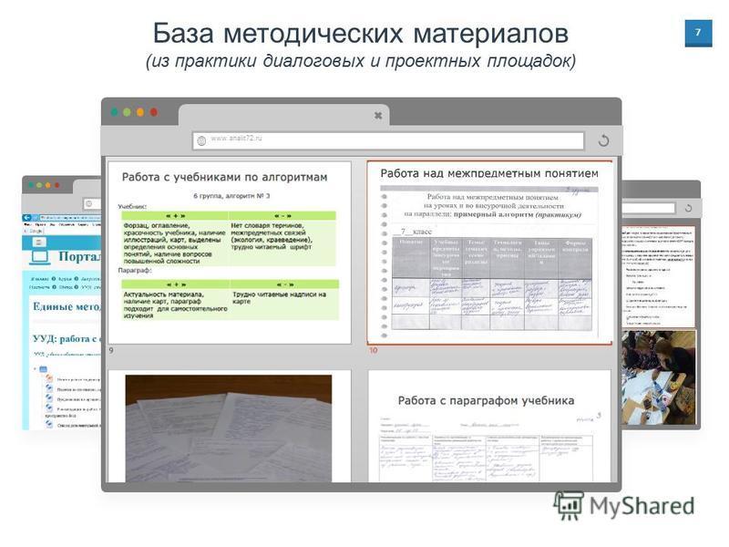 7 База методических материалов (из практики диалоговых и проектных площадок) www.analit72.ru
