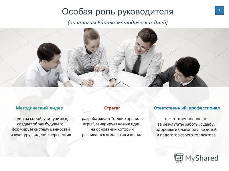 9 разрабатывает общие правила игры, генерирует новые идеи, на основании которых развивается коллектив и школа Стратег ведет за собой, учит учиться, создает образ будущего, формирует систему ценностей и культуру, видение перспектив Методический лидер