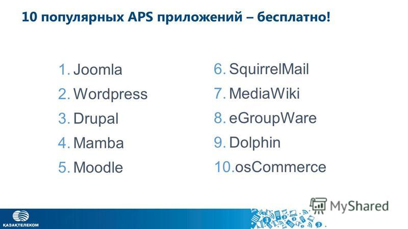 10 популярных APS приложений – бесплатно! 1. Joomla 2. Wordpress 3. Drupal 4. Mamba 5. Moodle 6. SquirrelMail 7. MediaWiki 8. eGroupWare 9. Dolphin 10.osCommerce