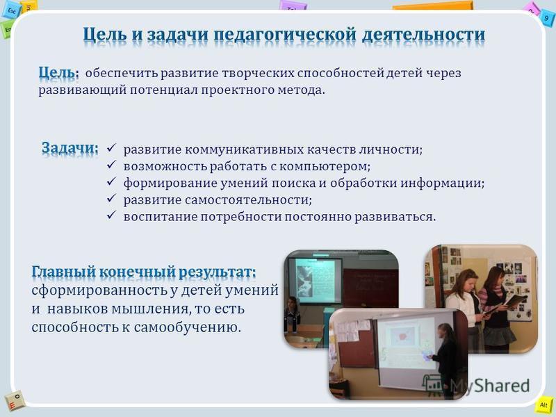 2 Tab 9 Alt Ins Esc End OЩOЩ развитие коммуникативных качеств личности; возможность работать с компьютером; формирование умений поиска и обработки информации; развитие самостоятельности; воспитание потребности постоянно развиваться.