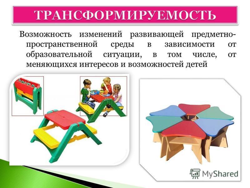 Возможность изменений развивающей предметно- пространственной среды в зависимости от образовательной ситуации, в том числе, от меняющихся интересов и возможностей детей