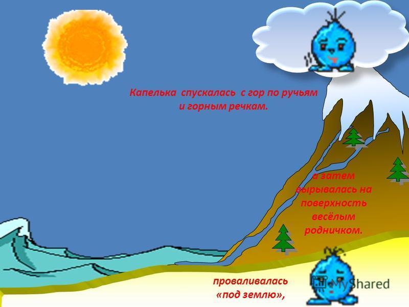 Капелька спускалась с гор по ручьям и горным речкам. проваливалась «под землю», а затем вырывалась на поверхность весёлым родничком.