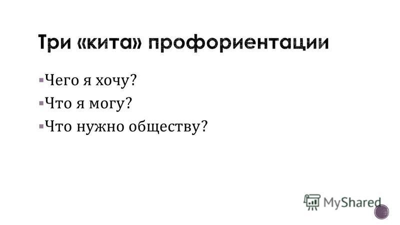 Чего я хочу ? Что я могу ? Что нужно обществу ?