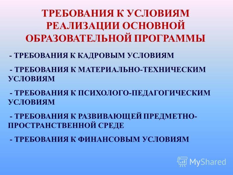 ТРЕБОВАНИЯ К УСЛОВИЯМ РЕАЛИЗАЦИИ ОСНОВНОЙ ОБРАЗОВАТЕЛЬНОЙ ПРОГРАММЫ - ТРЕБОВАНИЯ К КАДРОВЫМ УСЛОВИЯМ - ТРЕБОВАНИЯ К МАТЕРИАЛЬНО-ТЕХНИЧЕСКИМ УСЛОВИЯМ - ТРЕБОВАНИЯ К ПСИХОЛОГО-ПЕДАГОГИЧЕСКИМ УСЛОВИЯМ - ТРЕБОВАНИЯ К РАЗВИВАЮЩЕЙ ПРЕДМЕТНО- ПРОСТРАНСТВЕНН