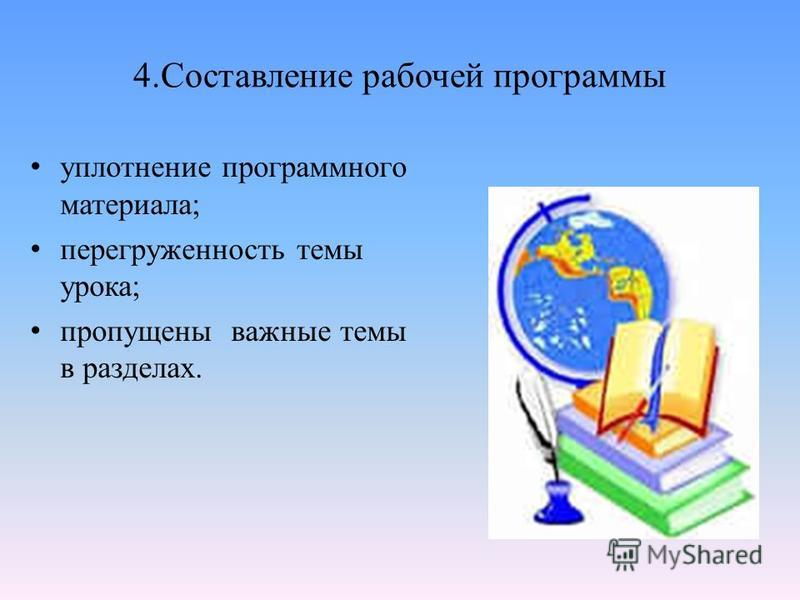 4. Составление рабочей программы уплотнение программного материала; перегруженность темы урока; пропущены важные темы в разделах.