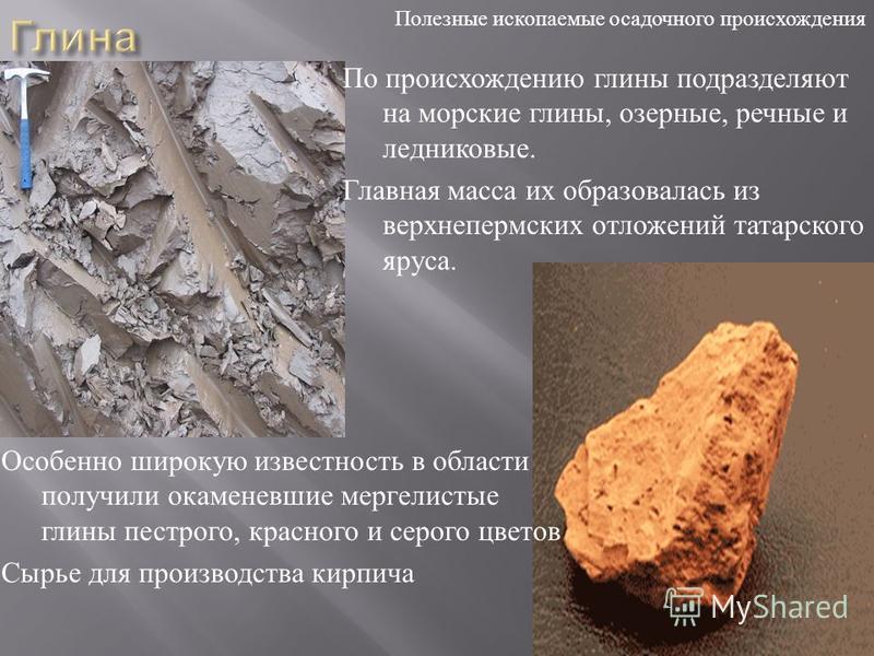 По происхождению глины подразделяют на морские глины, озерные, речные и ледниковые. Главная масса их образовалась из верхнепермских отложений татарского яруса. Особенно широкую известность в области получили окаменевшие мергелистые глины пестрого, кр