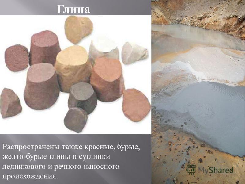 Глина Распространены также красные, бурые, желто - бурые глины и суглинки ледникового и речного наносного происхождения.