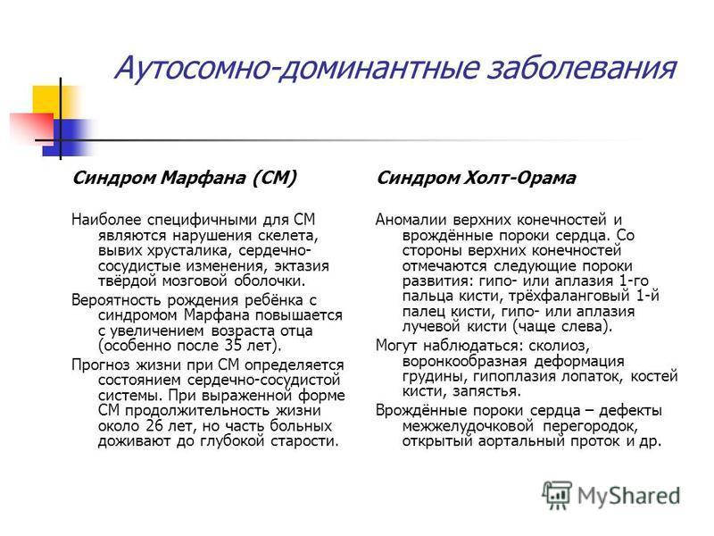 Аутосомно-доминантные заболевания Синдром Марфана (СМ) Наиболее специфичными для СМ являются нарушения скелета, вывих хрусталика, сердечно- сосудистые изменения, эктазия твёрдой мозговой оболочки. Вероятность рождения ребёнка с синдромом Марфана повы