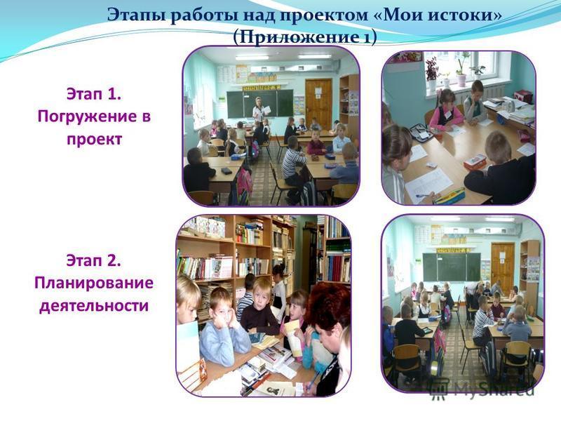 Этап 1. Погружение в проект Этап 2. Планирование деятельности Этапы работы над проектом «Мои истоки» (Приложение 1)