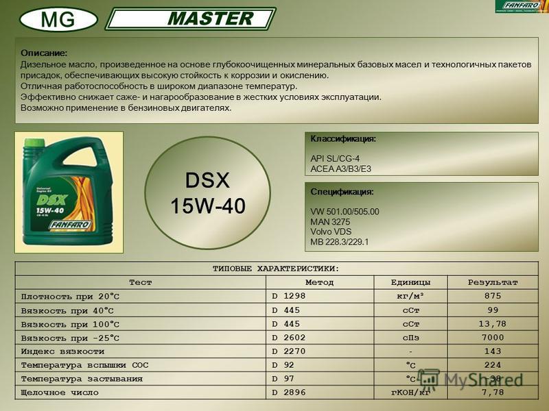 Классификация: API SL/CG-4 ACEA A3/B3/E3 Описание: Дизельное масло, произведенное на основе глубокоочищенных минеральных базовых масел и технологичных пакетов присадок, обеспечивающих высокую стойкость к коррозии и окислению. Отличная работоспособнос