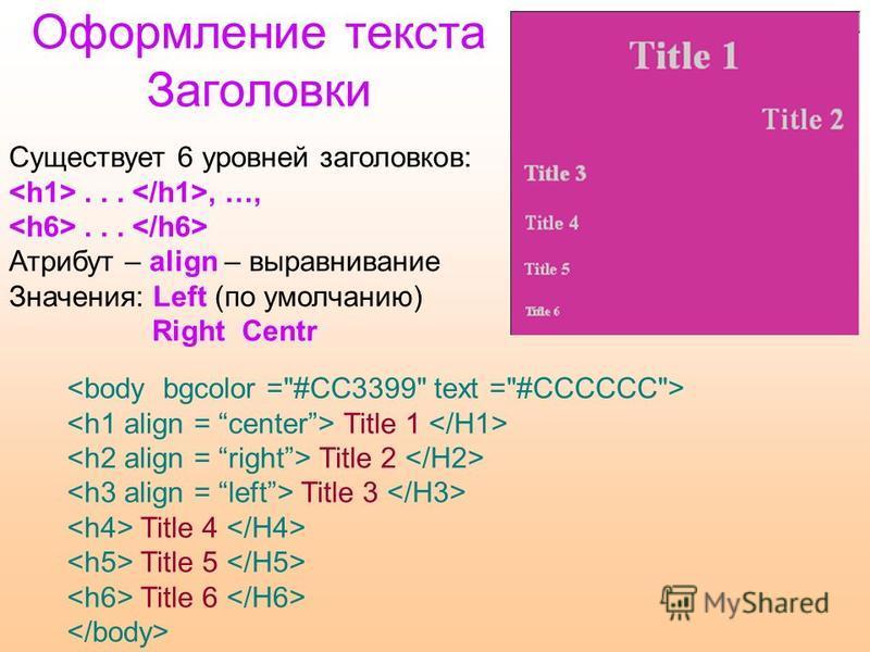 Оформление текста Заголовки Существует 6 уровней заголовков:..., …,... Атрибут – align – выравнивание Значения: Left (по умолчанию) Right Centr Title 1 Title 2 Title 3 Title 4 Title 5 Title 6