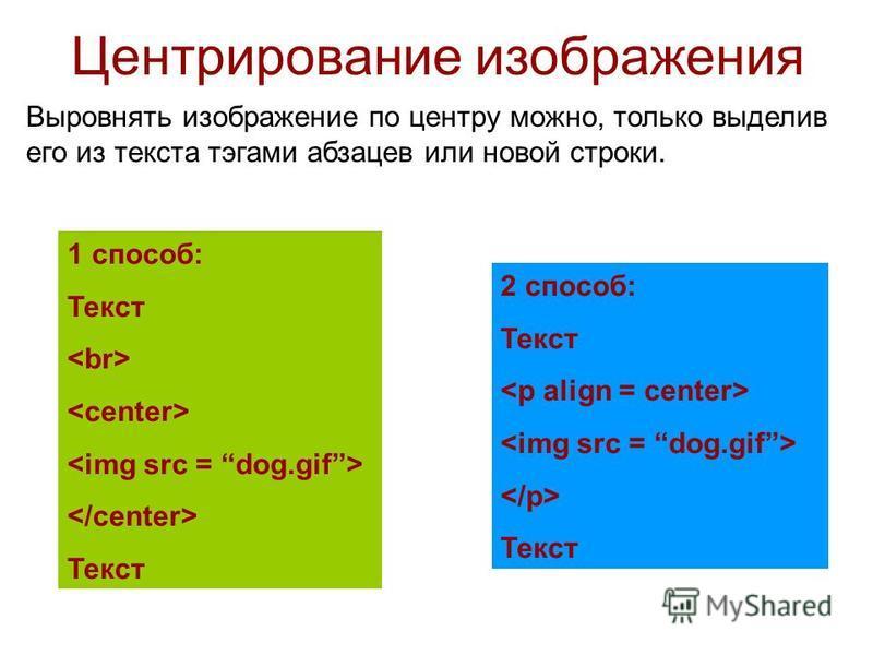 Центрирование изображения Выровнять изображение по центру можно, только выделив его из текста тэгами абзацев или новой строки. 1 способ: Текст Текст 2 способ: Текст Текст