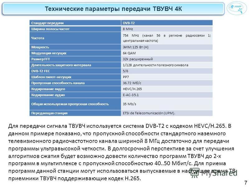 Технические параметры передачи ТВУВЧ 4К 7 Стандарт передачиDVB-T2 Ширина полосы частот 8 MHz Частота 754 MHz (канал 56 в регионе радиосвязи 1; центральная частота) МощностьЭИМ: 125 Вт (H) Модуляция несущих 64 QAM Размер FFT32k расширенный Длительност