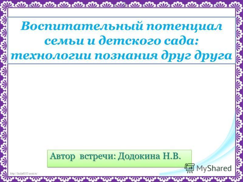http://linda6035.ucoz.ru/ Воспитательный потенциал семьи и детского сада: технологии познания друг друга Автор встречи: Додокина Н.В.