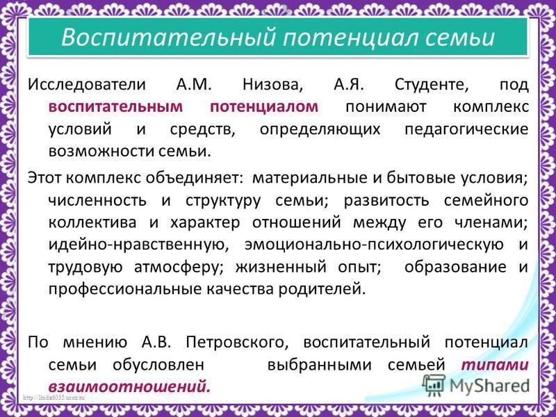 http://linda6035.ucoz.ru/ Исследователи А.М. Низова, А.Я. Студенте, под воспитательным потенциалом понимают комплекс условий и средств, определяющих педагогические возможности семьи. Этот комплекс объединяет: материальные и бытовые условия; численнос