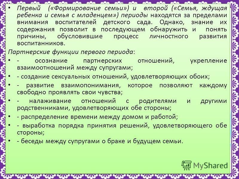 http://linda6035.ucoz.ru/ Первый («Формирование семьи») и второй («Семья, ждущая ребенка и семья с младенцем») периоды находятся за пределами внимания воспитателей детского сада. Однако, знание их содержания позволит в последующем обнаружить и понять