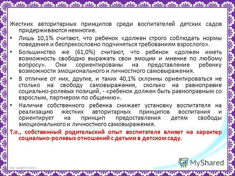 http://linda6035.ucoz.ru/ Жестких авторитарных принципов среди воспитателей детских садов придерживаются немногие. Лишь 10,1% считают, что ребенок «должен строго соблюдать нормы поведения и беспрекословно подчиняться требованиям взрослого». Большинст