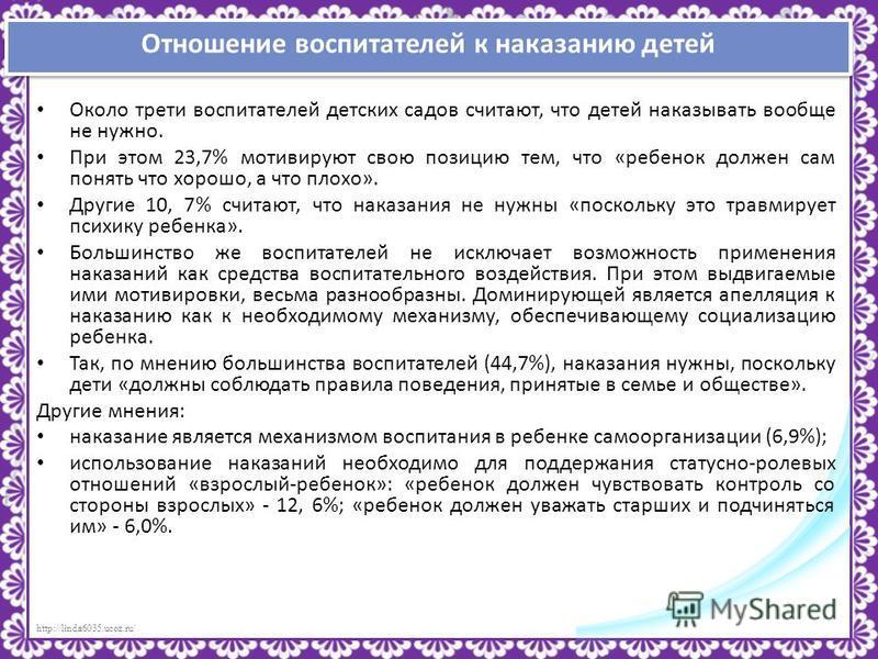http://linda6035.ucoz.ru/ Отношение воспитателей к наказанию детей Около трети воспитателей детских садов считают, что детей наказывать вообще не нужно. При этом 23,7% мотивируют свою позицию тем, что «ребенок должен сам понять что хорошо, а что плох